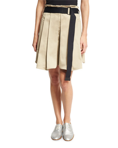 Chapman Pleated Culottes with Belt, Beige