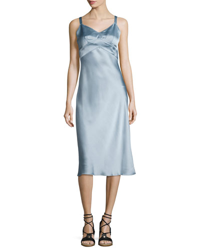 Kaplan Satin Slip Dress, Light Gray