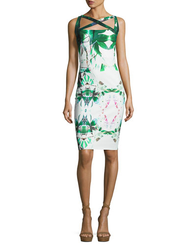 Angela Sleeveless Jersey Sheath Dress, Forest