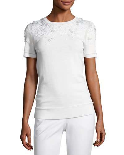 Hadley Mixed-Media Short-Sleeve Merino Sweater, Ivory