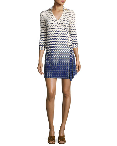 Milo Chevron 3/4-Sleeve Wrap Dress, Navy Surf