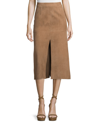 Mid-Rise Skirt W/Side Slit, Phard Brown