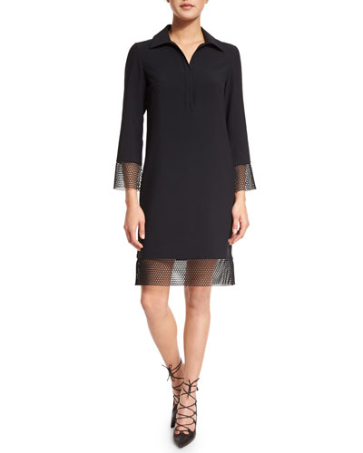 3/4-Sleeve Sheath Dress W/Mesh Trim, Black