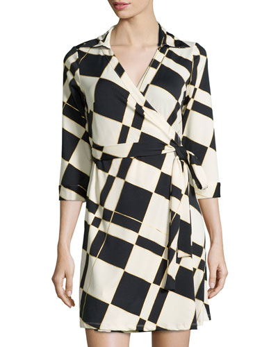 Milo Check 3/4-Sleeve Wrap Dress, Moonshine