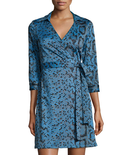 Milo Printed 3/4-Sleeve Wrap Dress, Blue Dakota