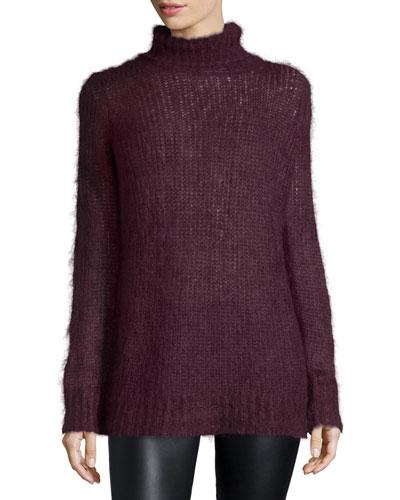 Mohair-Blend Turtleneck Sweater, Bordeaux