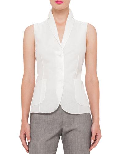 Cotton-Voile Sleeveless Gilet Blouse, Anemone