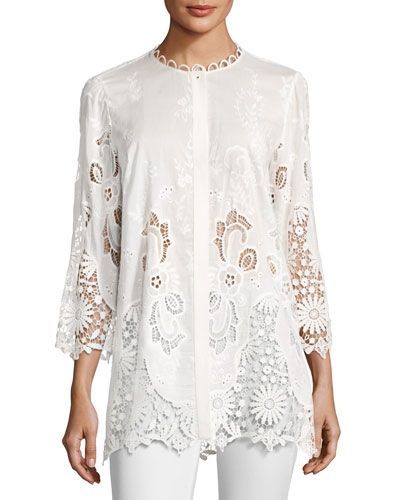 Dillon 3/4-Sleeve Floral Eyelet Lace Blouse