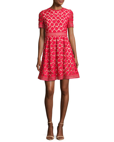 Short-Sleeve Pleated Lace Fit-and-Flare Dress, Red