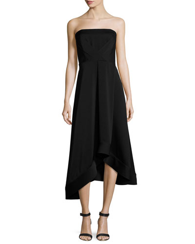 Strapless Asymmetric Crepe Cocktail Dress