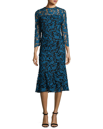 3/4-Sleeve Lace Two-Tone Midi Dress, Blue/Black