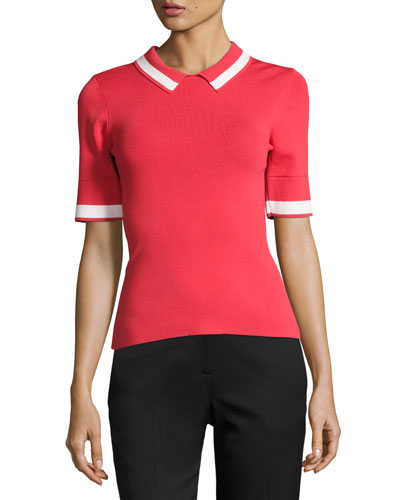 Short-Sleeve Knit Polo Shirt w/ Contrast Stripe