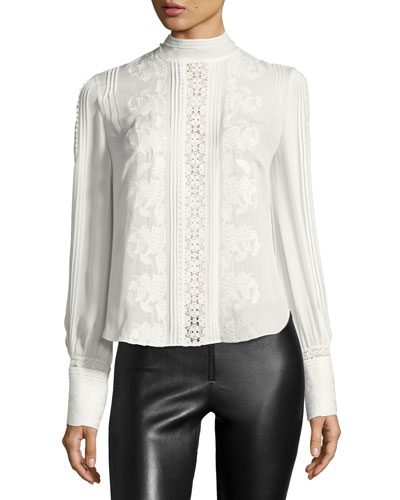 Pintucked Silk Victorian Blouse, White
