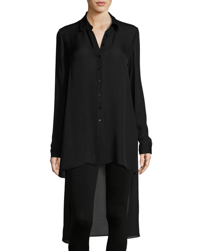 The Caravan Silk High-Low Blouse, Black