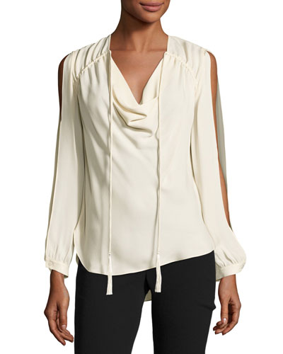 Classic Silk Cowl Blouse, Antique White