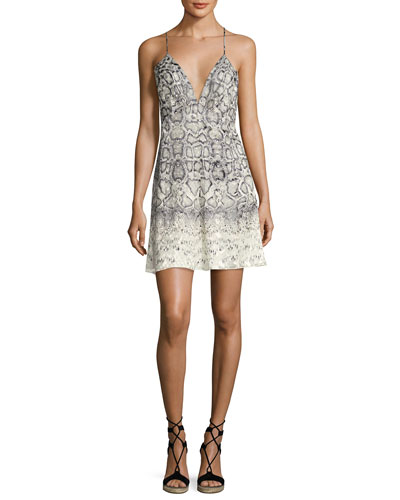 Snakeskin-Print Slip Dress, Natural/Gray