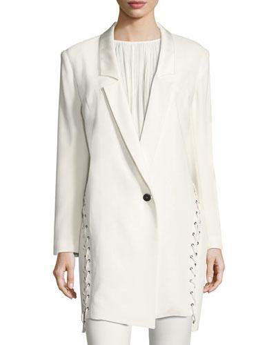Lace-Up Tuxedo Jacket, White