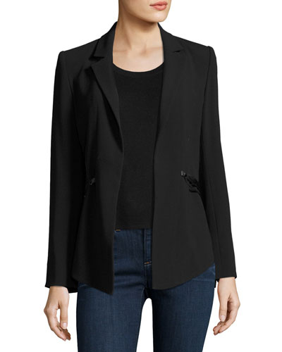 We Will Meet Again Laced Crepe Blazer, Black
