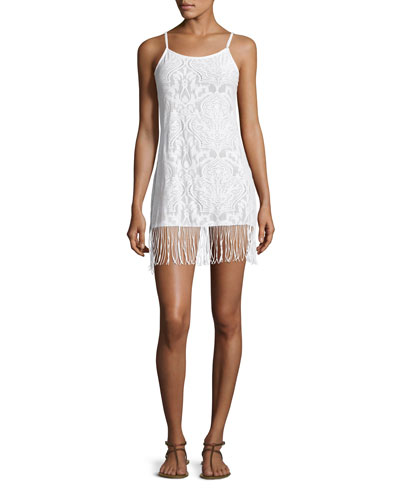 Sahara Ana Fringe-Hem Coverup Dress