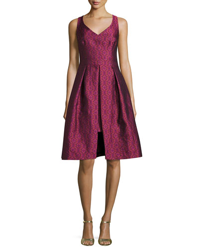 Sleeveless Pleated Floral Jacquard Dress, Pink