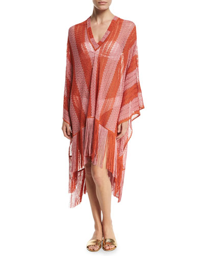 Zigzag-Stripe Long Coverup with Fringe, Red-Orange/Pink