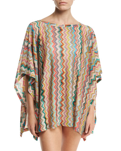 Zigzag Short Coverup, Multicolor
