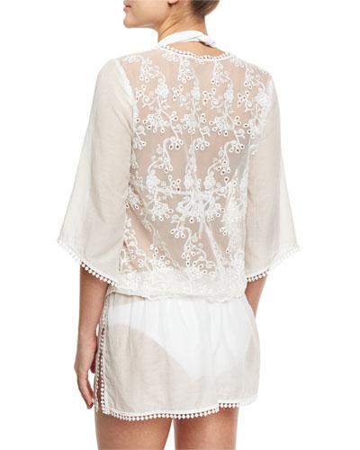 Rhea Lace-Trim Cotton-Silk Voile Caftan Coverup, White