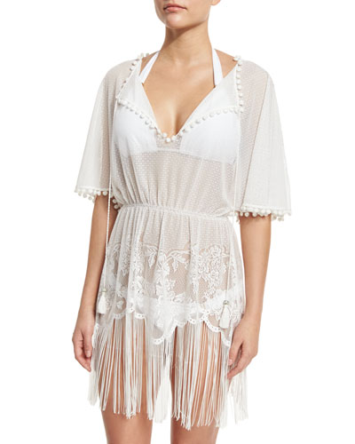 Dea Lace Cutout-Back Coverup Dress with Pompom & Fringe Trim