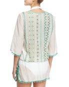 Rhea Pompom-Trim Cotton-Silk Voile Caftan Coverup, Green/White