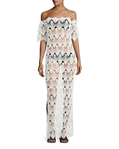 Flora Scalloped Lace Off-the-Shoulder Maxi Coverup Dress, White