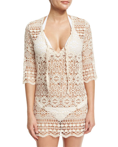 Juno Crocheted Lace V-Neck Coverup Dress/Tunic, Off White
