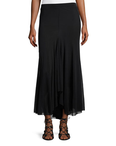 A-Line Tulle Maxi Skirt, Black