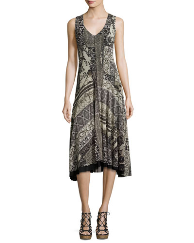 Sleeveless Lace Mosaic-Print A-Line Dress, Black Pattern