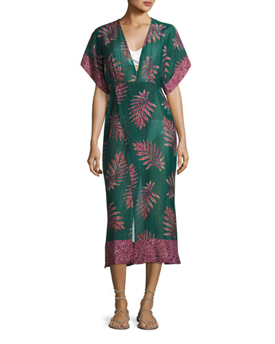 Leaves Dione Caftan Coverup, Blue-Green