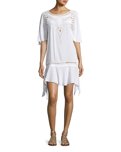 Gabi Eyelet Coverup Dress, White