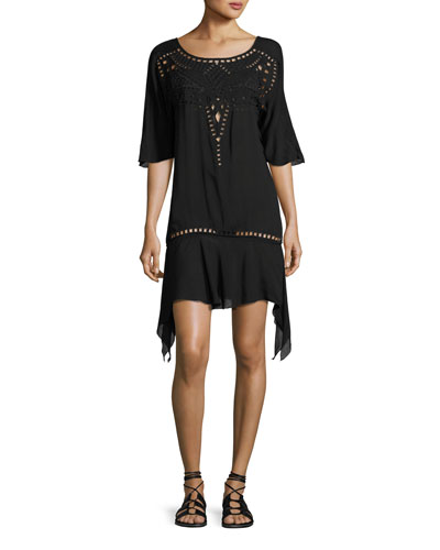 Gabi Eyelet Coverup Dress, Black