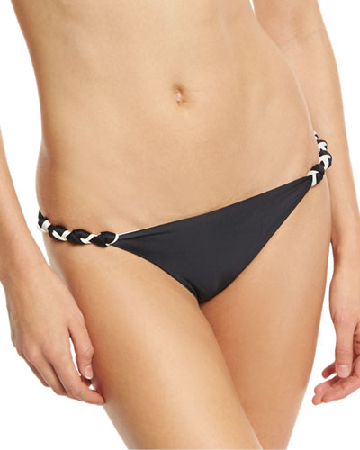 Double-Face Knotted Swim Bottom, Black