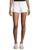 Quinn Mid-Rise Slim Girlfriend Jean Cutoff Shorts, White