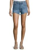 Drew High-Rise Classic Vintage Jean Cutoff Shorts, Light Blue