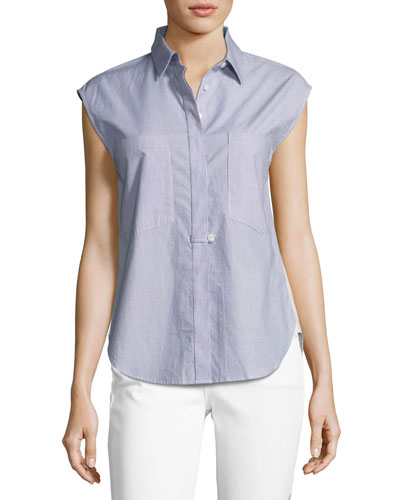 Sleeveless Striped Solid-Combo Poplin Shirt, Indigo