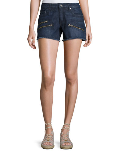 Quinn Mid-Rise Slim Girlfriend Jean Cutoff Shorts, Indigo