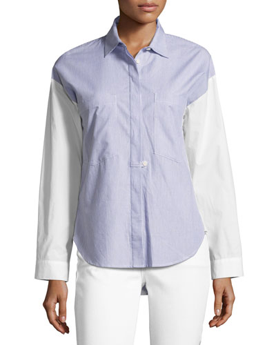 Striped Solid-Combo Poplin Shirt, Indigo