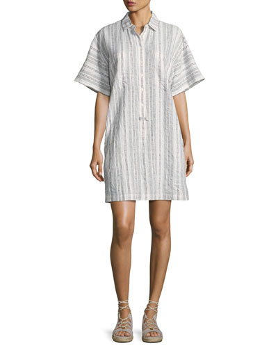 Striped Half-Sleeve Shirtdress, White