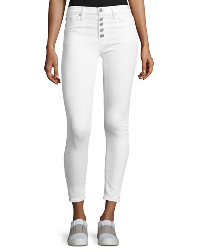 Ciara High-Rise Super Skinny Ankle Jeans, White