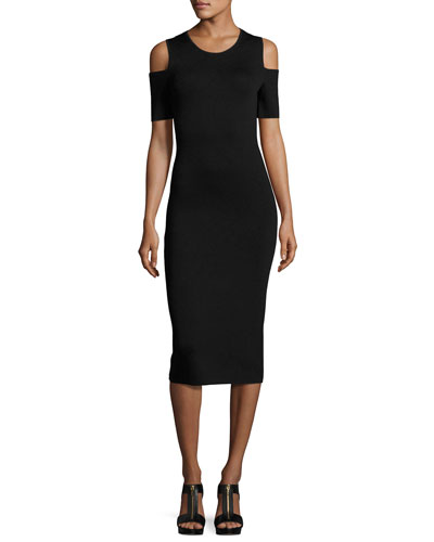 Cold-Shoulder Midi Sheath Dress, Black