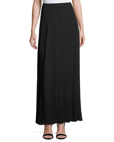 Polka-Dot Pleated Maxi Skirt, Black
