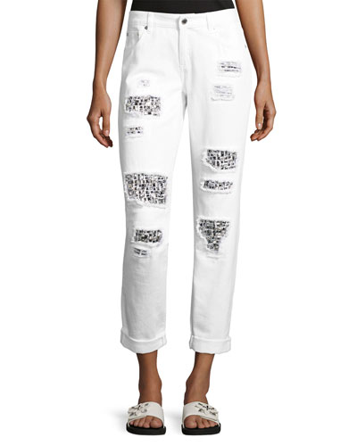 Distressed Relaxed-Fit Cuffed Jeans, White