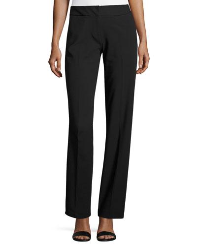 Lightweight Straight-Leg Pants, Black