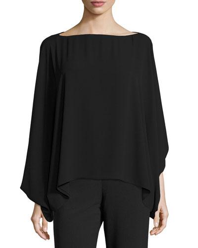 Soft Poet-Sleeve Blouse, Black