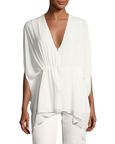 Silky Zip-Front Caftan Top, White